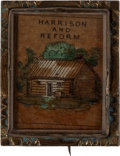 Political:Ribbons & Badges, William Henry Harrison: Hand-Colored Log Cabin Brooch. ...