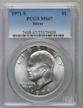 Eisenhower Dollars: , 1971-S $1 Silver MS67 PCGS. PCGS Population (438/2). NGC Census:(91/1). Mintage: 2,600,000. Numismedia Wsl. Price for prob...