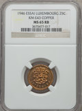 Luxembourg, Luxembourg: Charlotte Essai 25 Centimes in copper 1946 MS65 Red andBrown NGC,...