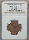 Central American Union, Central American Union: Federation Essai 1 Centavo in bronze 1889 MS64 Red and Brown NGC,...