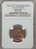 Luxembourg, Luxembourg: Charlotte Essai Franc in copper 1946 MS65 Red and BrownNGC,...