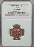 Dominican Republic, Dominican Republic: Republic copper Pattern 5 Centavos 1983 MS63Red and Brown NGC,...