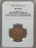 Liberia, Liberia: Republic Cent 1896-H MS64 Red and Brown NGC,...