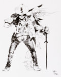 "Original Comic Art:Splash Pages, Vlatche Mavlian ""The Masked Buckaroo in Return of the White Wolf""Promotional Pin-Up Original Art (Digital Webbing, 2002)...."