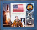Explorers:Space Exploration, Space Shuttle Columbia (STS-3) Flown American Flag and CrewPatch in Framed Display Directly from the Personal Col...
