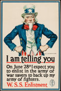 "Movie Posters:War, World War I Propaganda (U.S. Government Printing, 1918). TrimmedWar Savings Stamps Poster (19.75"" X 29.75"") ""I Am Telling Y..."