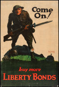 "Movie Posters:War, World War I Propaganda (U.S. Government Printing Office, 1918).Trimmed Liberty Bonds Poster (19.75"" X 29.75"") ""Come On! Buy..."
