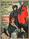 "Movie Posters:War, World War I Propaganda (Salvation Army, 1919). Trimmed Home ServiceFund Poster (29.5"" X 39.5"") ""A Man May Be Down But He's ..."