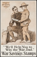 "Movie Posters:War, World War Propaganda (William J. Tully, 1914-1918). Trimmed WarSavings Poster (17.75"" X 27.75"") ""We'll Help You to Win the ..."