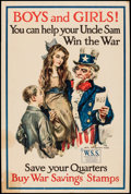 "Movie Posters:War, World War I Propaganda (U.S. Government Printing Office,1917-1918). Poster (20"" X 30"") ""Boys and Girls! You Can Help YourU..."