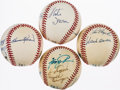 Autographs:Baseballs, Multi Signed Baseballs Lot of 4 Including Partial 500 Home Run and 3000 Hit Club....
