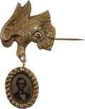 Political:Ferrotypes / Photo Badges (pre-1896), Abraham Lincoln: 1864 Ferrotype Badge....