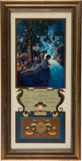 "Advertising:Paper Items, Maxfield Parrish: 1931 Small Edison Mazda Lamps Calendar ""TheWaterfall.""..."