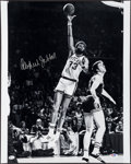 Basketball Collectibles:Photos, Kareem Abdul Jabbar Signed Oversized Photograph and Unsigned MiniBanner....