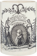 """Political:3D & Other Display (pre-1896), Sought-After George Washington """"Long Live the President"""" Liverpool Tankard...."""