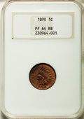 Proof Indian Cents, 1890 1C PR64 Red and Brown NGC....