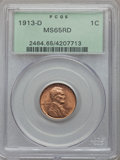 Lincoln Cents, 1913-D 1C MS65 Red PCGS....