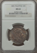 Philippines, Philippines: Alfonso XII 50 Centavos 1885 MS63 NGC,...