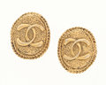 Luxury Accessories:Accessories, Chanel Textured Gold CC Earrings. ...
