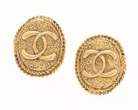 Chanel Textured Gold CC Earrings