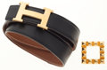 Luxury Accessories:Accessories, Hermes 100cm Black Calf Box & Gold Courchevel LeatherReversible H Belt with Gold Medor Square Buckle. ...