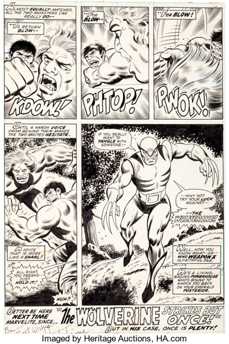 Herb Trimpe and Jack Abel The Incredible Hulk #180 Final Page 32: The First-Ever Appearance of Wolverine Original ...