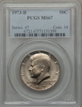 Kennedy Half Dollars: , 1973-D 50C MS67 PCGS. PCGS Population (54/0). NGC Census: (16/0).Mintage: 83,171,400. Numismedia Wsl. Price for problem fr...
