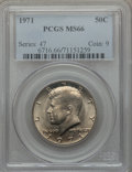 Kennedy Half Dollars: , 1971 50C MS66 PCGS. PCGS Population (97/6). NGC Census: (36/5).Mintage: 155,164,000. Numismedia Wsl. Price for problem fre...