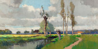 EDOUARD-LÉON CORTÈS (French, 1882-1969) Paysage en Normandie, circa 1930 Oil on canvas 18-1/2 x 3