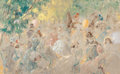 , LOUIS ICART (French, 1888-1950). Au Pesage, circa 1930. Oilon canvas. 31-3/4 x 51-1/4 inches (80.6 x 130.2 cm). Signed ...