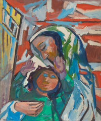BRUNO KRAUSKOPF (German, 1892-1960) Mother and Child Oil on canvasboard 30 x 24-3/4 inches (76.2