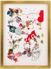 Yinka Shonibare MBE China Love, 2011 Paper, pen, gold leaf, collage and fabric 47-1/2 x 31-1/2 in