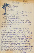 Autographs:Others, 1952 Max Carey Handwritten Signed Letter to Charles Comiskey,Jr....