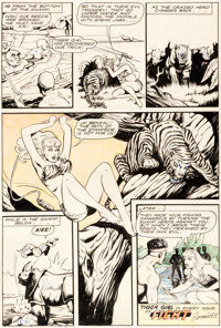 "Matt Baker Fight Comics #42 ""Tiger Girl"" Partially Hand-Colored Page Original Art (Fiction House, 1946)"