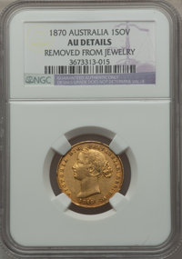 Australia: Victoria gold Sovereign 1870 AU Details (Removed from Jewelry) NGC