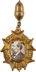 Political:Ferrotypes / Photo Badges (pre-1896), James A. Garfield: Unusual Cardboard Badge....