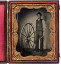 Photography:Tintypes, Early Photography: Occupational Tintype of Wheelwright....
