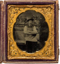 Photography:Tintypes, Early Photography: Sixth Plate Occupational Tintype....