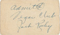 Political:Small Paper (1896-present), [John F. Kennedy]: Jack Ruby Signed Carousel Club Card....