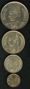 Egypt: , Egypt: King Farouk Royal Mint Silver Proof Set 1937, KM365 2Piastres, choice toned Proof, colorful patina, KM366 5 Piastres,choic... (Total: 4 coins Item)