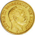 German States:Hesse-Darmstadt, German States: Hesse-Darmstadt. Ludwig III gold 5 Marks 1877H, KM356, Fr-3787, EF with a tiny edge crimp that is almost unnoticeable and a ...