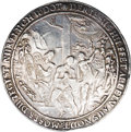 German States:Lubeck, German States: Lubeck. Broad 1-1/2 Religious Schautaler ND (ca.1619-44), Moses, John and the fall of Man from the Grace of God/TheCrucifi...