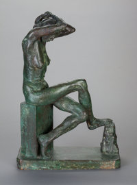 JACOB EPSTEIN (British, 1880-1959) Nan Seated, 1911 Bronze with greenish-brown patina 20 inches (