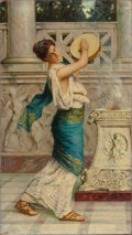 Paintings, GUGLIELMO ZOCCHI (Italian, b. 1874). Roman Woman Playing the Tambourine. Oil on canvas. 31-5/8 x 17-7/8 inches (80.3 x 4...