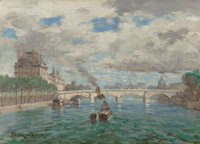 FRANK MYERS BOGGS (French/American, 1855-1926) La Seine a Paris Oil on canvas 13-1/4 x 18-1/4 inc