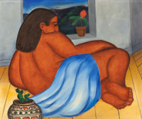 JUAN DE'PREY (Puerto Rican, 1904-1962) Mexican Woman Oil on board 21 x 25-1/4 inches (53.3 x 64.1