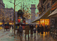 EDOUARD-LÉON CORTÈS (French, 1882-1969) Boulevard et Porte Saint-Martin Oil on canvas 13 x 18-1/4