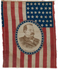 Political:Textile Display (pre-1896), Grover Cleveland: Vertical Campaign Flag....