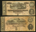 Confederate Notes:1864 Issues, T68 $10 1864 PF-1 Cr. 540;. T69 $5 1864 PF-1 Cr. 558.. ... (Total: 2 notes)