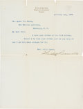Autographs:U.S. Presidents, Theodore Roosevelt: Typed Letter Signed as New York Governor....